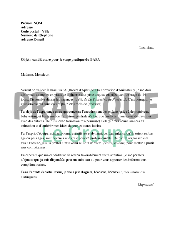 exemple lettre de motivation stage bafa