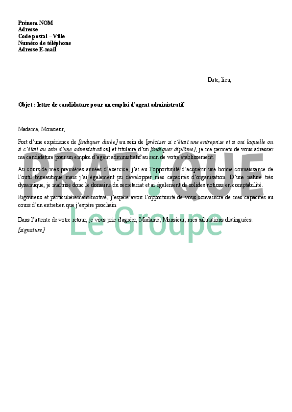 application letter sample  modele de lettre de motivation pour emploi administratif