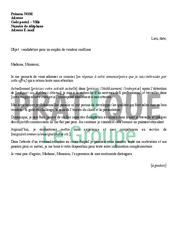 lettre de candidature pour un emploi de vendeur confirm u00e9