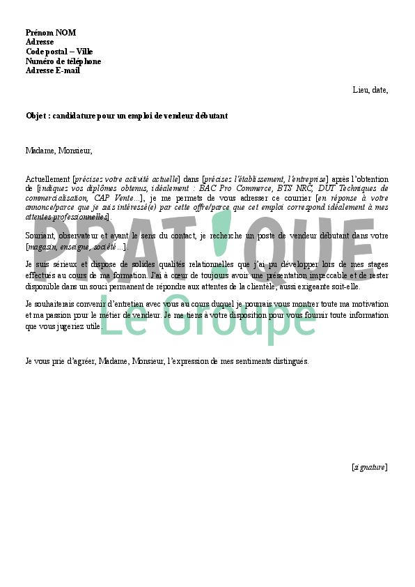 lettre de motivation vente magasin