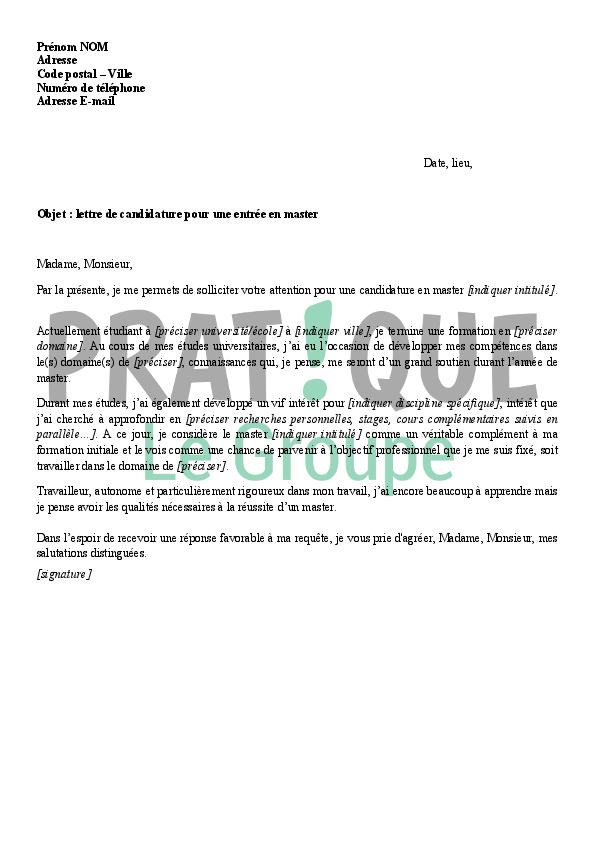 lettre de candidature pour une entr u00e9e en master