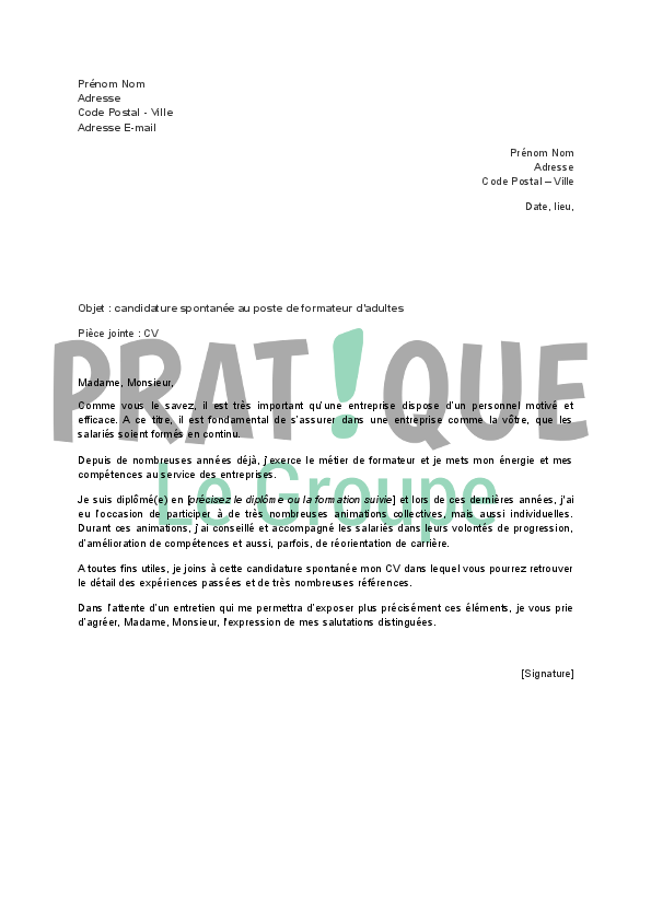 lettre de motivation formateur commercial