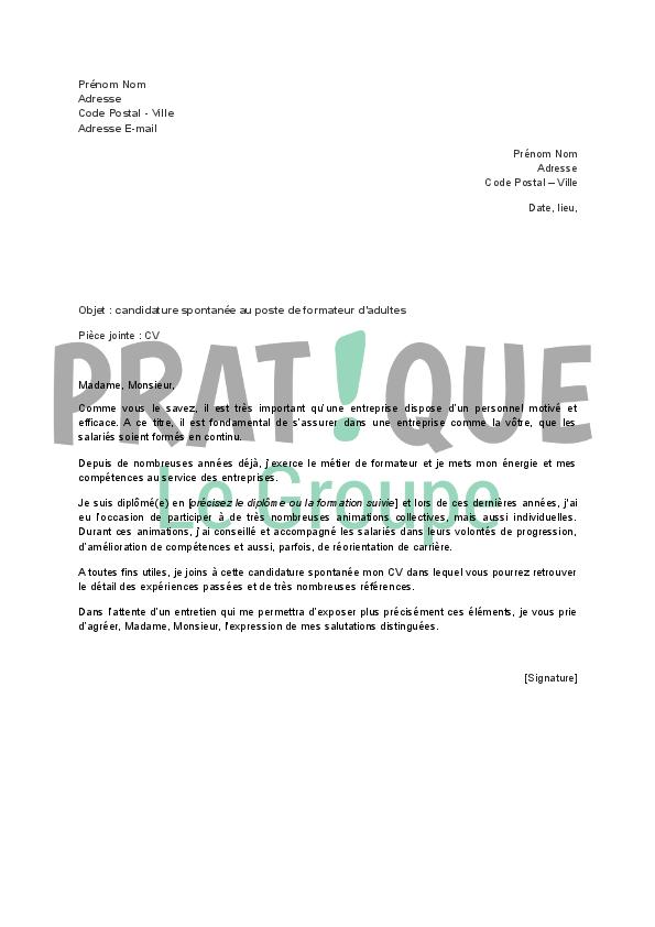 lettre de candidature spontan u00e9e pour un emploi de formateur pour adultes
