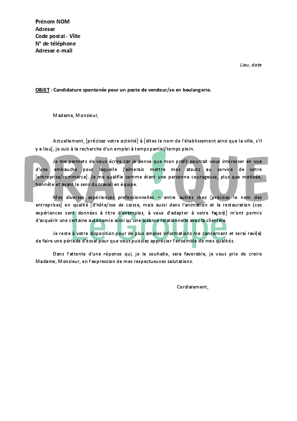 exemple lettre de motivation candidature spontanee vendeuse