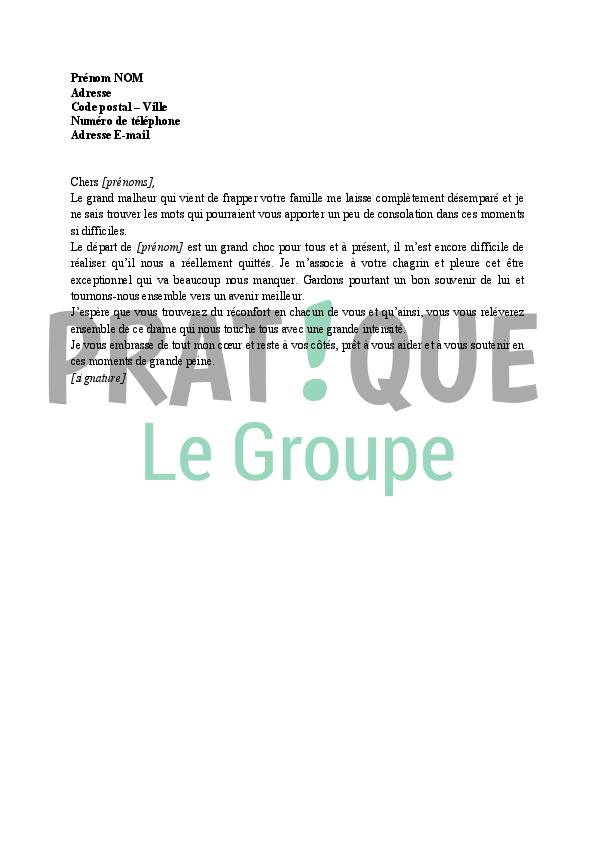 Lettre de condoléances pour un proche (modèle 1) | Pratique.fr