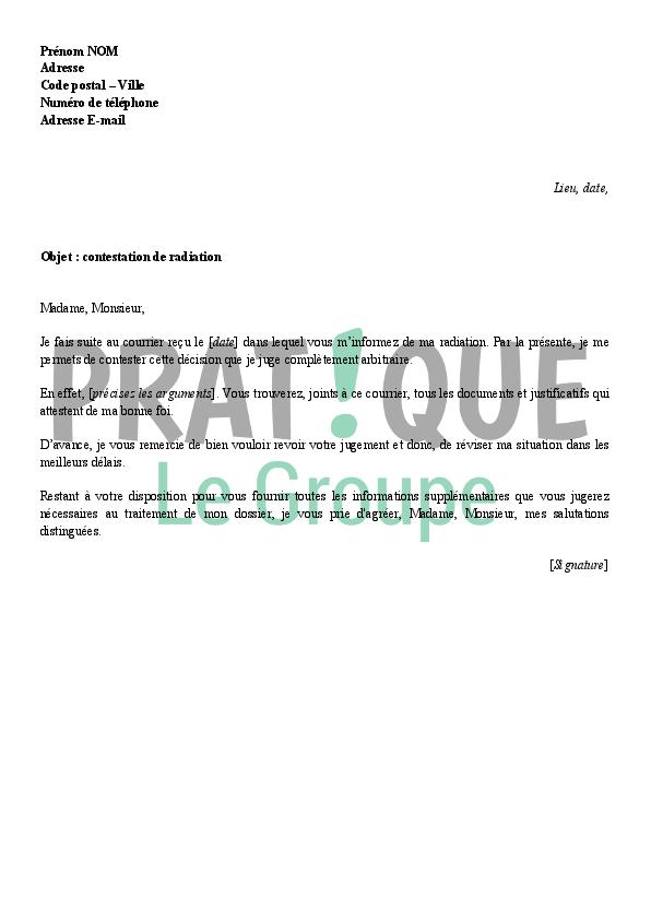 lettre de contestation d u0026 39 une radiation