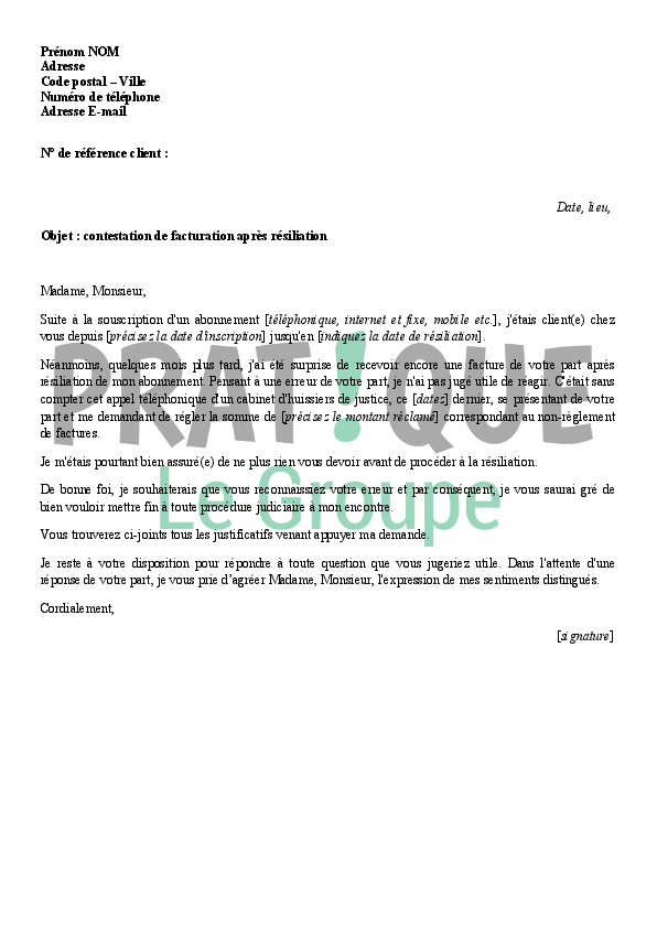 lettre de contestation de facturation apr u00e8s r u00e9siliation