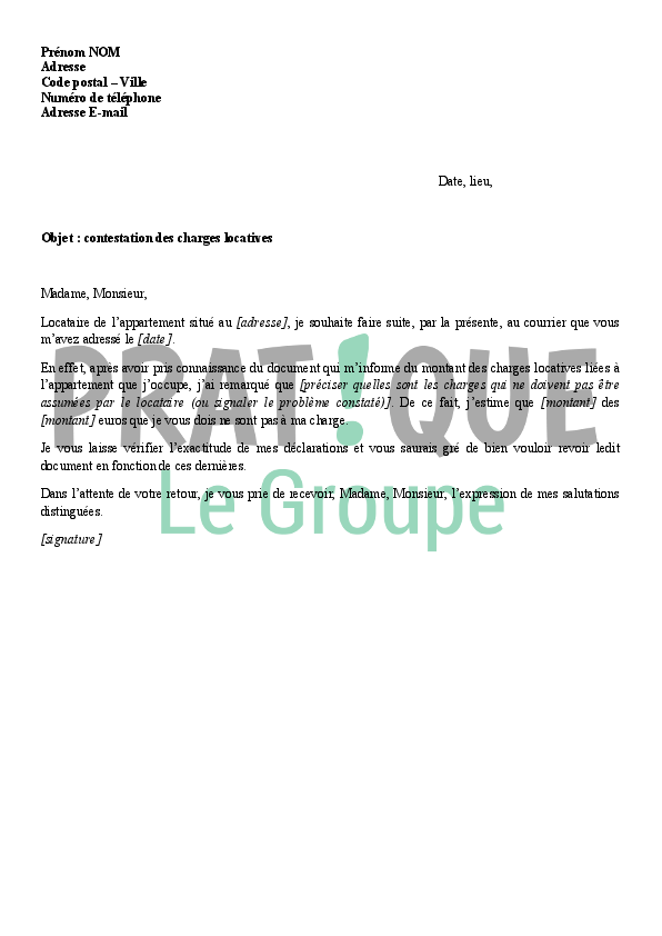 Lettre de contestation des charges locatives - Charges locatives abusives ...