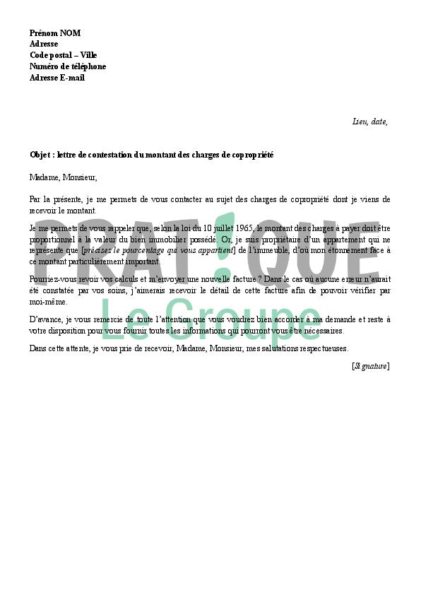 Lettre de contestation du montant des charges de copropri t - Calcul charges de copropriete ...