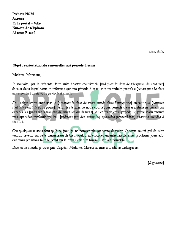 lettre de contestation du renouvellement de la p u00e9riode d