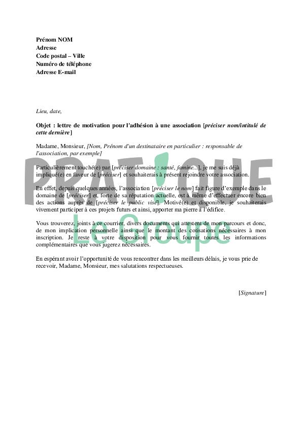 lettre pour devenir membre dune association