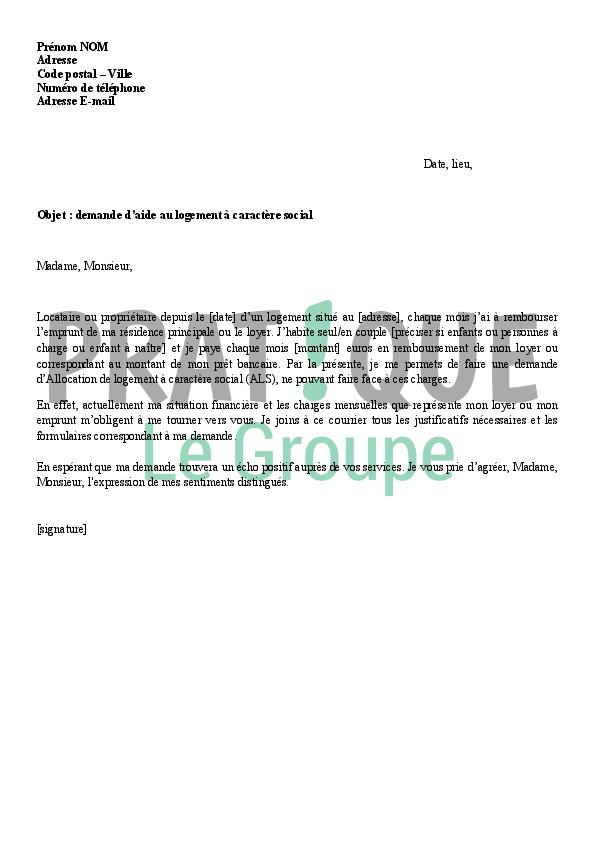 lettre de demande d u0026 39 aide au logement  u00e0 caract u00e8re social