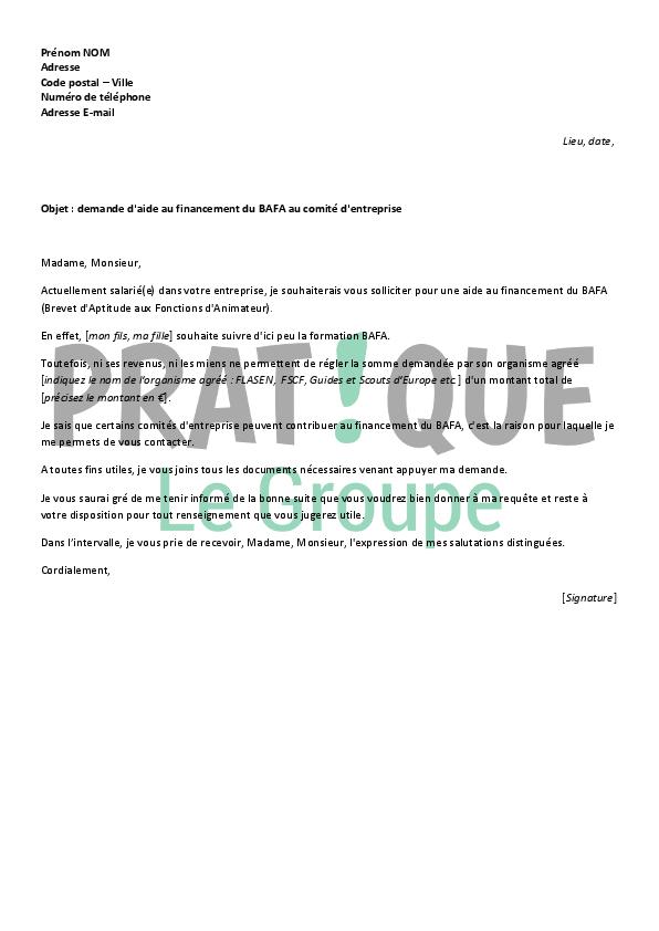 lettre de demande d u0026 39 aide financi u00e8re pour le bafa au comit u00e9 d u0026 39 entreprise