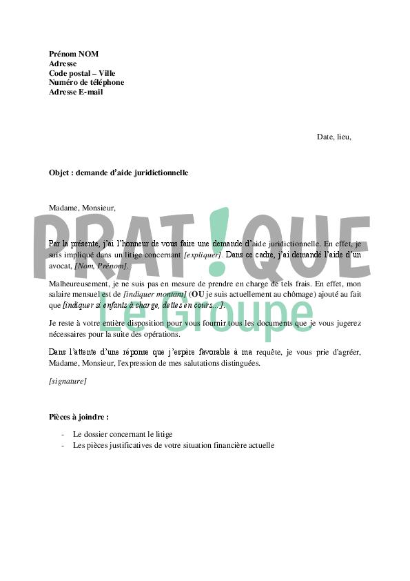 Lettre de demande daide juridictionnelle Pratiquefr