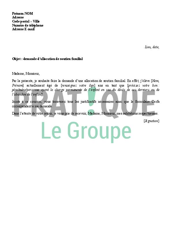 Lettre de demande d'Allocation de Soutien Familial (ASF) à la CAF ...