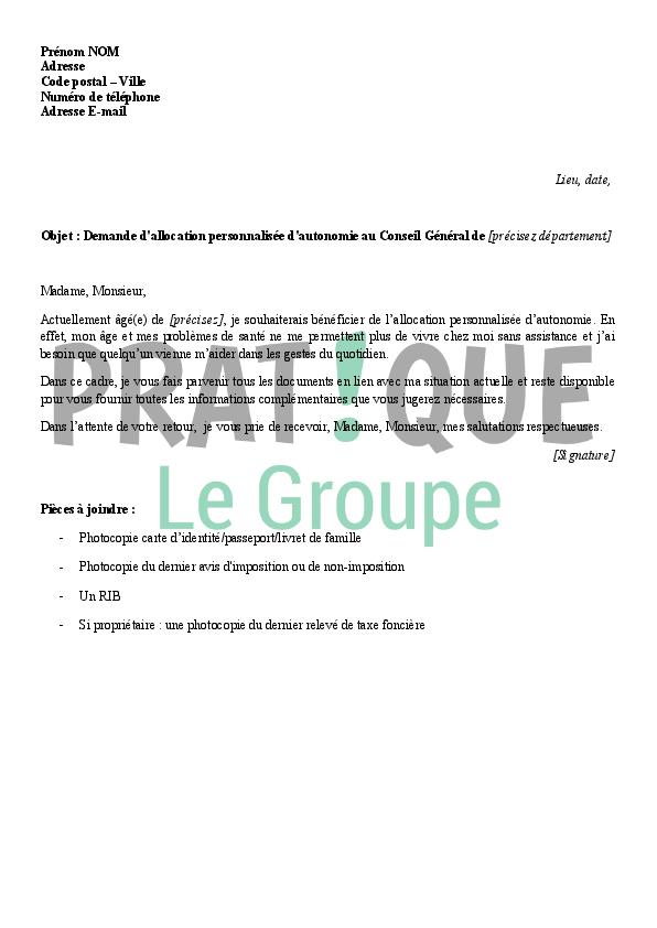 Lettre De Demande D Allocation Personnalis 233 E D Autonomie Pratique Fr