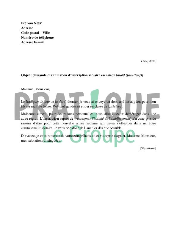 exemple de lettre de demande d inscription
