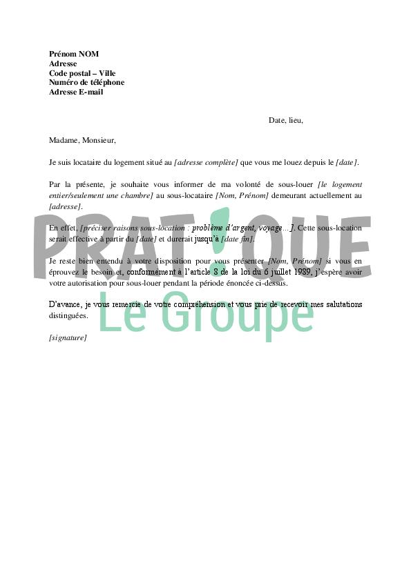 lettre de demande d u0026 39 autorisation de sous