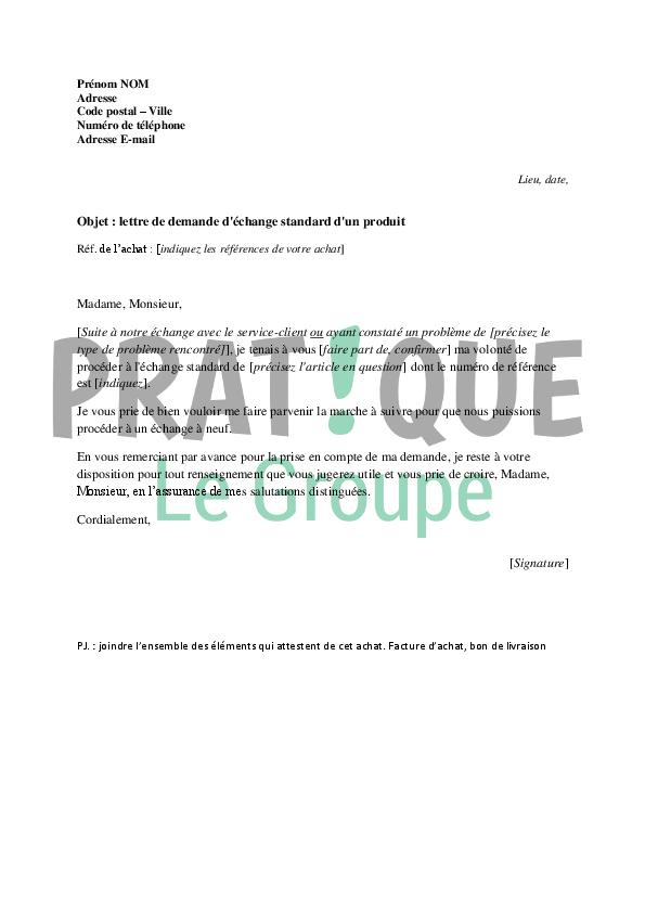 lettre de demande d u0026 39  u00e9change standard d u0026 39 un produit