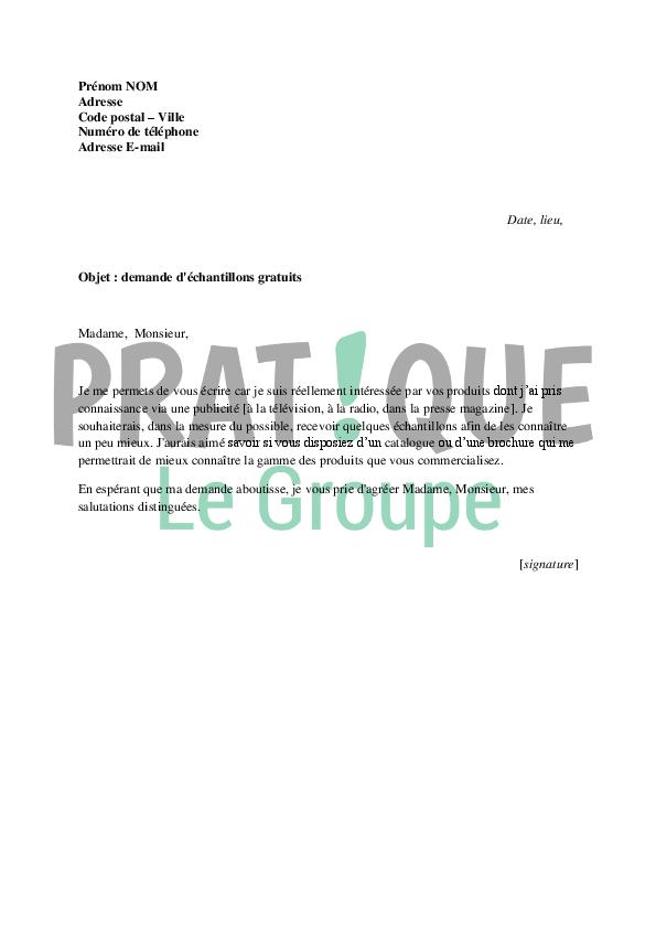 lettre de demande d u0026 39  u00e9chantillons gratuits