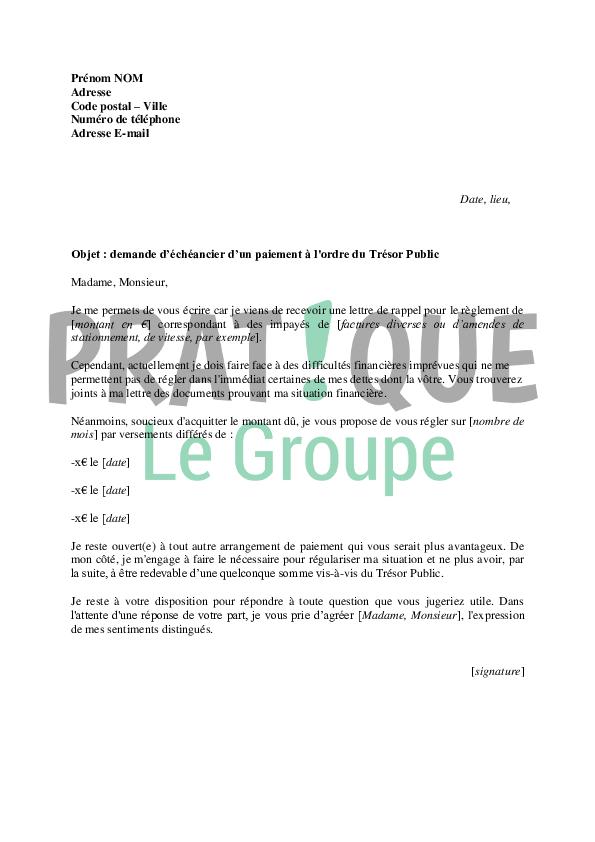Lettre De Demande D Echeancier Au Tresor Public Pratique Fr