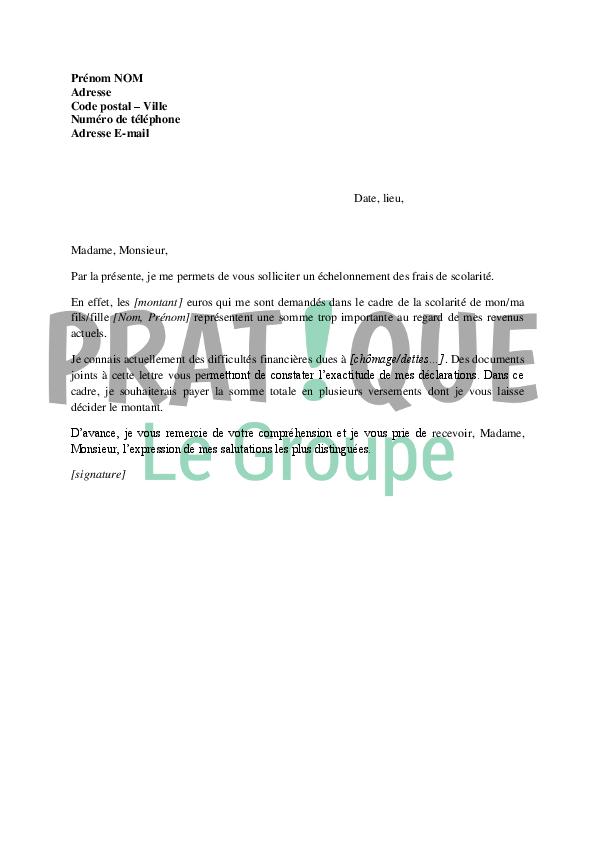 lettre de demande d u0026 39  u00e9chelonnement des frais de scolarit u00e9