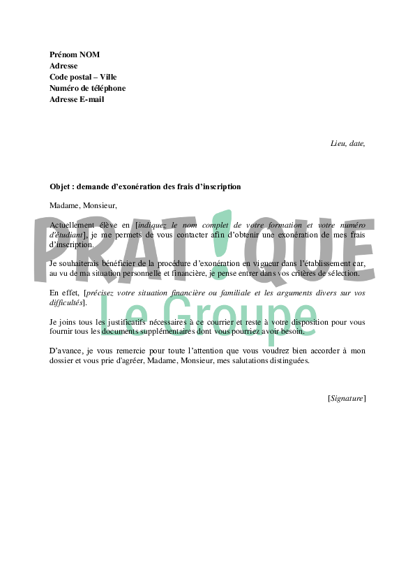 exemple de lettre d exon u00e9ration