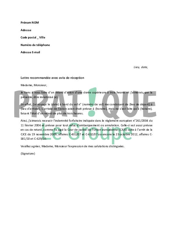 Lettre De Demande D Indemnite Suite A Un Retard D Avion Pratique Fr
