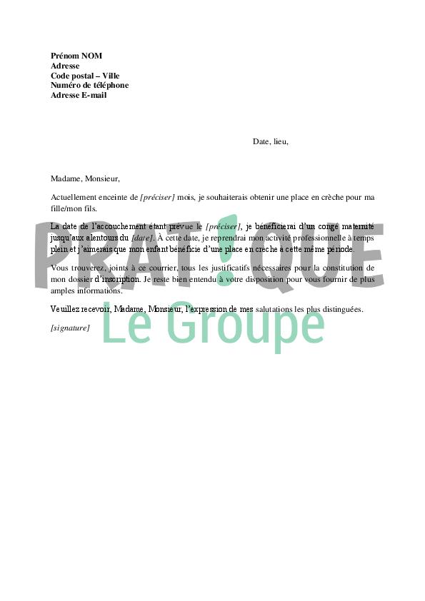 lettre de demande d u0026 39 inscription  u00e0 la cr u00e8che
