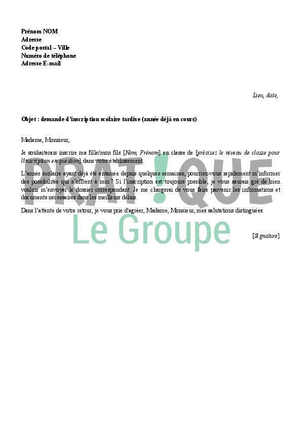 lettre de demande d u0026 39 inscription scolaire tardive