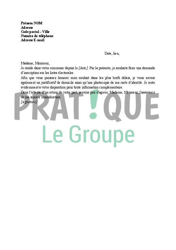lettre de demande d u0026 39 inscription sur les listes  u00e9lectorales  u00e0 la mairie