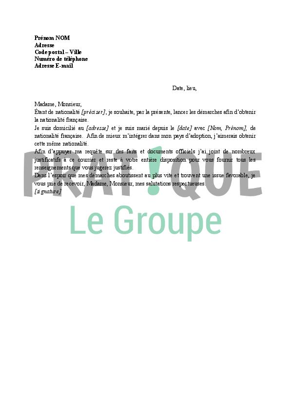 lettre de demande d u0026 39 obtention de la nationalit u00e9 fran u00e7aise