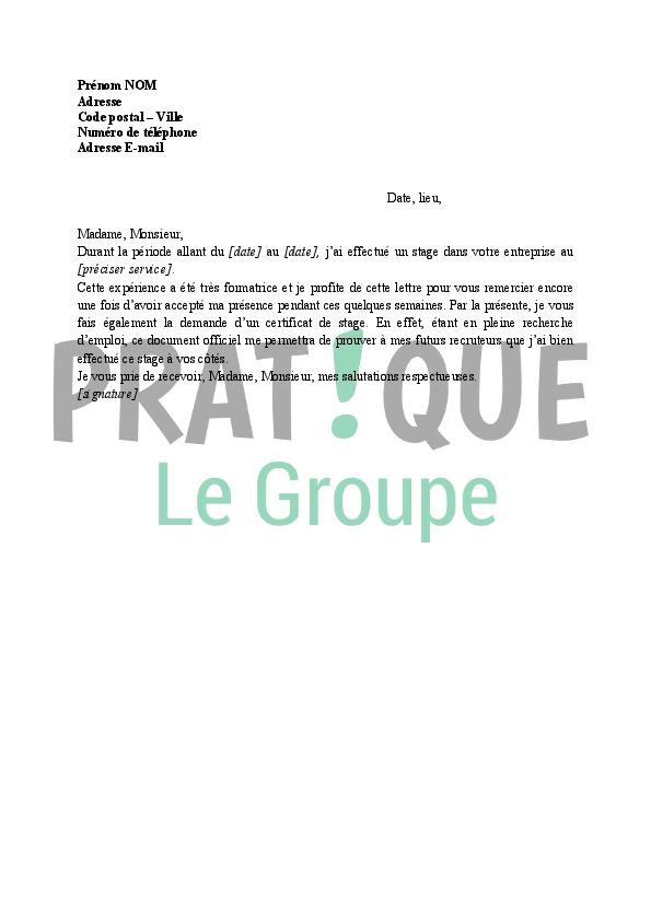 Lettre de demande d'un certificat de stage | Pratique.fr