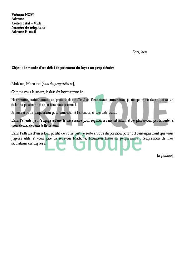 Lettre De Demande D Un Delai De Paiement Du Loyer Pratique Fr
