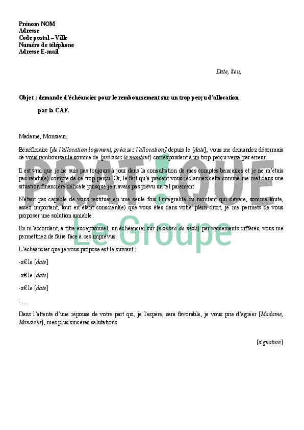 lettre de demande d u0026 39 un  u00e9ch u00e9ancier pour le remboursement d