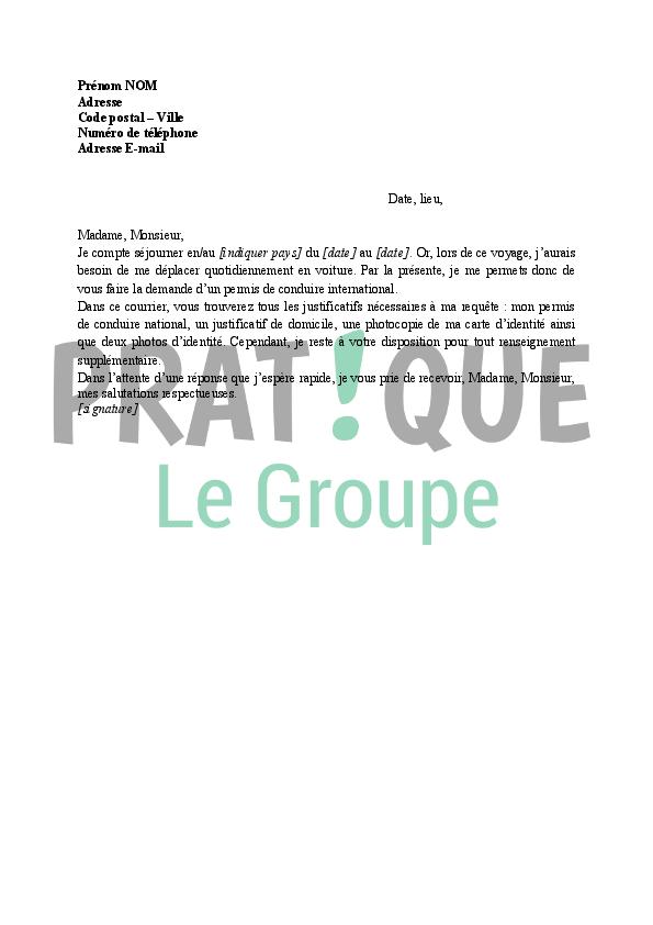 lettre de demande d u0026 39 un permis de conduire international
