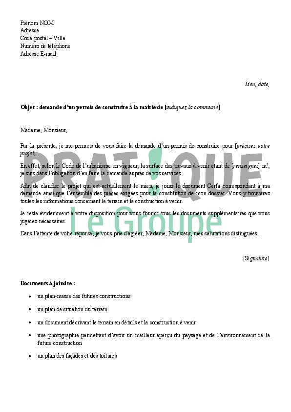 Lettre de demande d 39 un permis de construire la mairie for Permis de construire ou demande de travaux