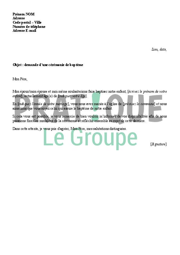 lettre bapteme Lettre de demande d'une cérémonie de baptême | Pratique.fr lettre bapteme