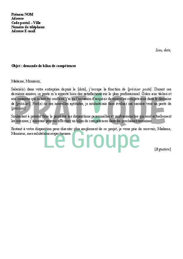 lettre de demande de bilan de comp u00e9tences
