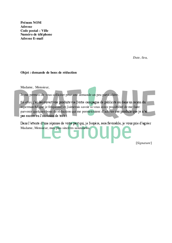 lettre de demande de bons de r u00e9duction