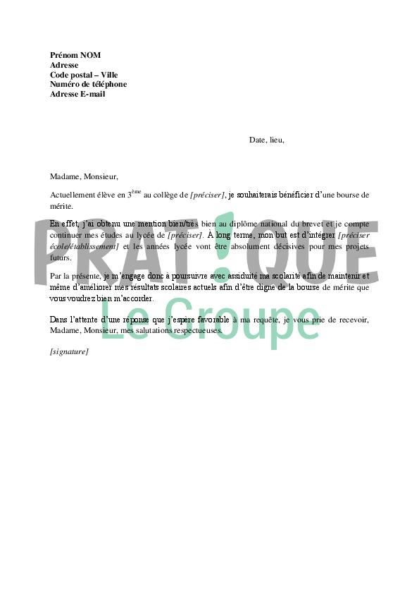 Lettre De Demande De Bourse Au Merite Avant Le Bac Pratique Fr