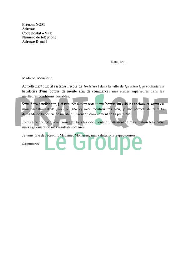 lettre de demande de bourse au m u00e9rite