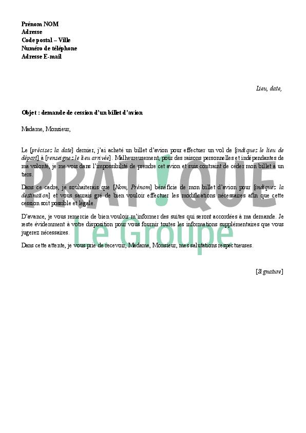 lettre de demande de cession d u0026 39 un billet d u0026 39 avion