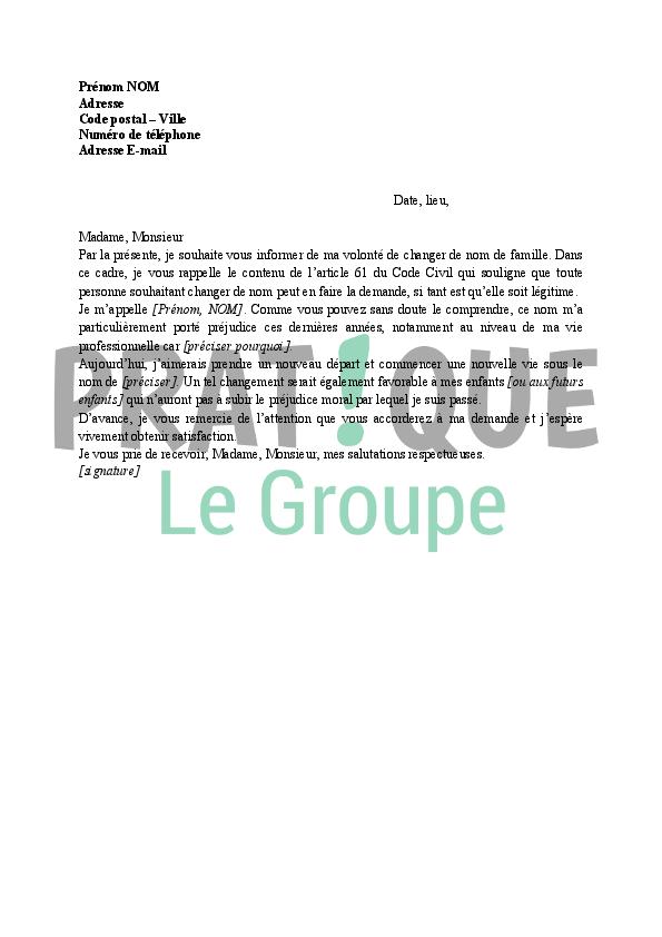 lettre de demande de changement de nom  u00e0 l u0026 39 administration