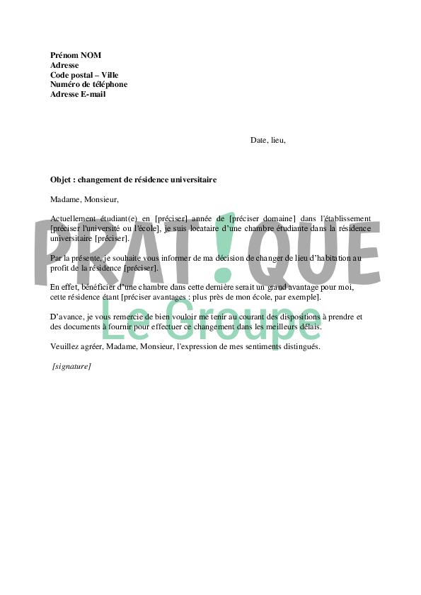 lettre de demande de changement de r u00e9sidence universitaire
