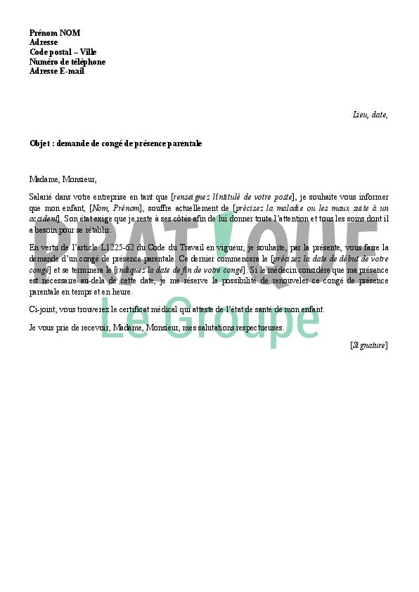 lettre de demande de cong u00e9 de pr u00e9sence parentale