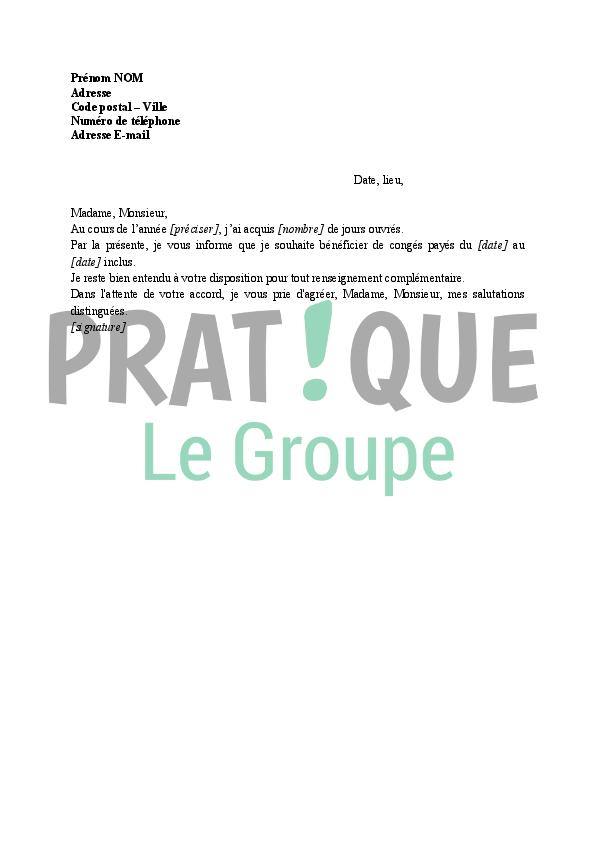 modele de lettre pour demande de congé payé Lettre de demande de congés payés | Pratique.fr modele de lettre pour demande de congé payé