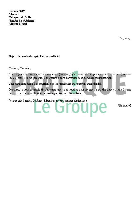 lettre de demande de copie d u0026 39 un acte officiel