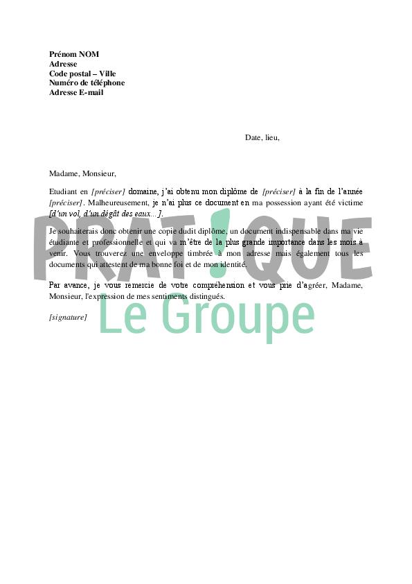 lettre de demande de copie de dipl u00f4me