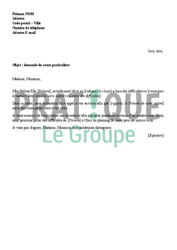 lettre de demande de cours particuliers
